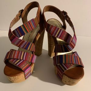 Chinese Laundry Multi Color Cork Sandals